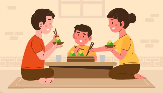 一家人开心吃粽子端午节背景矢量素材(AI/EPS)