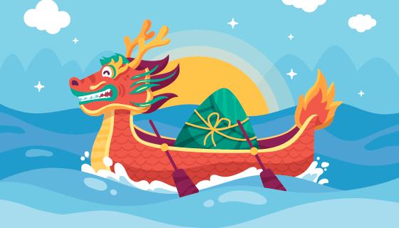 划龙舟的粽子端午节背景矢量素材(AI/EPS)