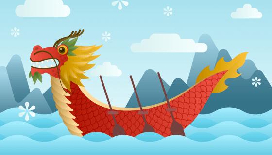 红色的龙舟端午节背景矢量素材(AI/EPS)