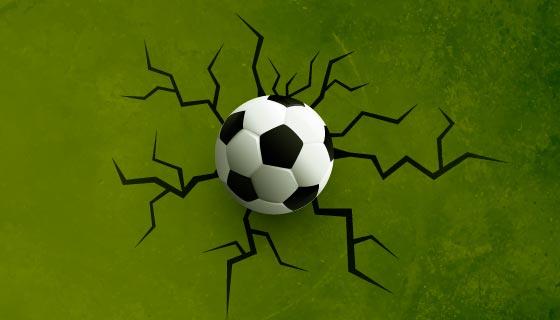 足球把墙壁震裂矢量素材(EPS)