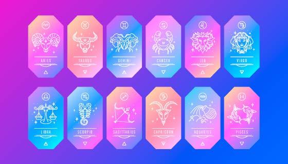 渐变十二星座卡片矢量素材(AI/EPS)