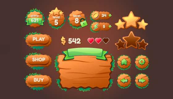 游戏界面按钮图标矢量素材(EPS)