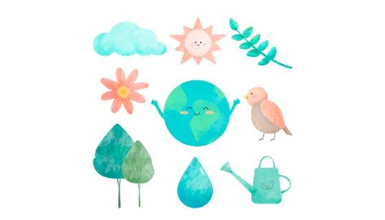 水彩风格的环境元素矢量素材(EPS/PNG)