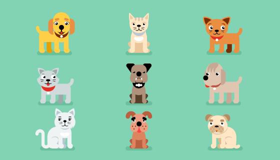 九个扁平风格的小猫小狗矢量素材(EPS/PNG)