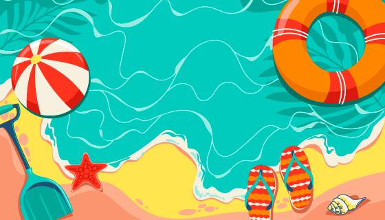 漫画风格夏日海滩背景矢量素材(AI/EPS)