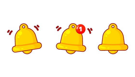 三个卡通的金色铃铛矢量素材(EPS)