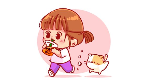 奔跑着喝奶茶的女孩矢量素材(EPS)