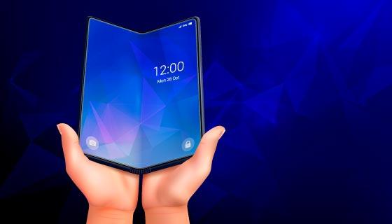 双手展开的折叠手机矢量素材(EPS)