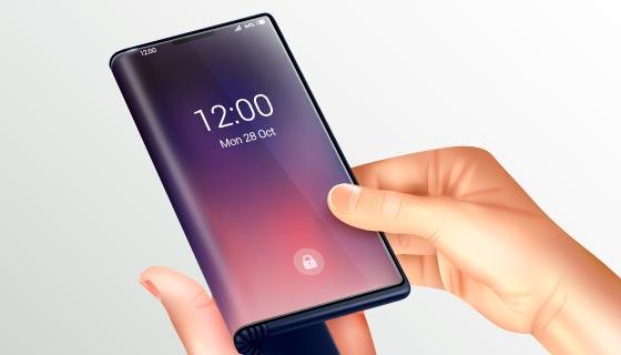 手持折叠智能手机矢量素材(EPS)