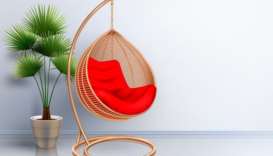 逼真的室内吊椅矢量素材(EPS)