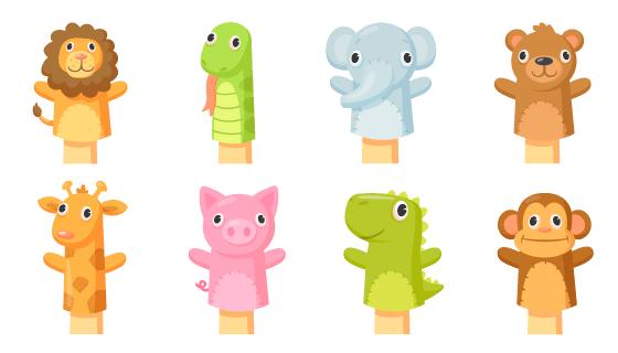八个动物袜子木偶矢量素材(EPS/PNG)