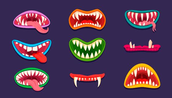 九个可怕的怪物嘴巴矢量素材(EPS/PNG)