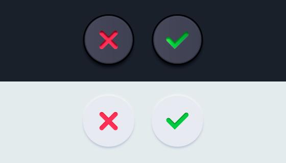 逼真的对勾和叉叉按钮矢量素材(AI/EPS)