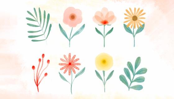 手绘水彩花卉矢量素材(EPS)