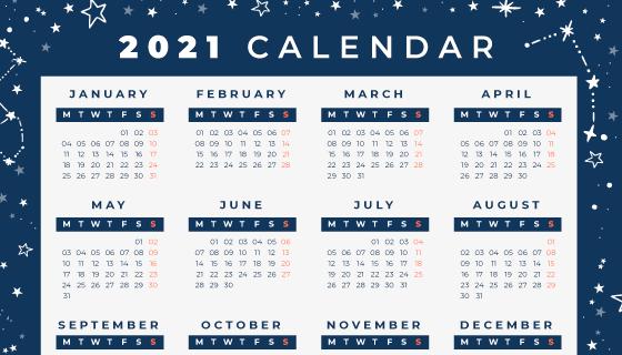 蓝色星空设计2021年日历矢量素材(AI/EPS)