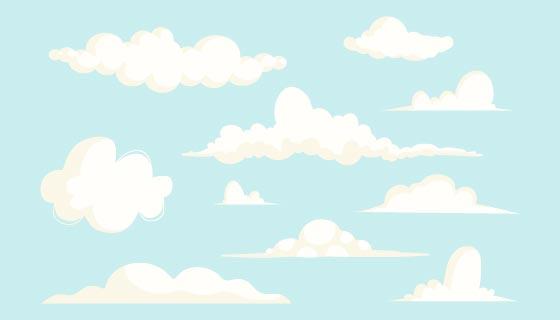 卡通风格的白云矢量素材(AI/EPS)