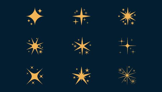 扁平风格闪亮的星星矢量素材(AI/EPS)