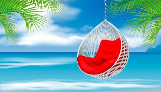 海滩上的吊椅矢量素材(EPS)