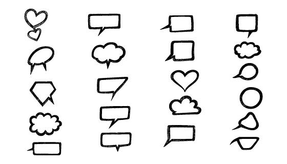 涂鸦风格聊天对话气泡矢量素材(EPS)