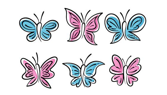 六个手绘风格的蝴蝶矢量素材(AI/EPS)