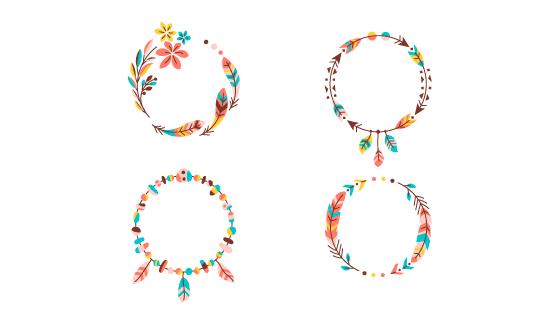 四个简单的花卉边框矢量素材(AI/EPS)