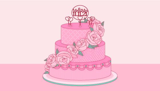 玫瑰花环绕的婚礼蛋糕矢量素材(AI/EPS)