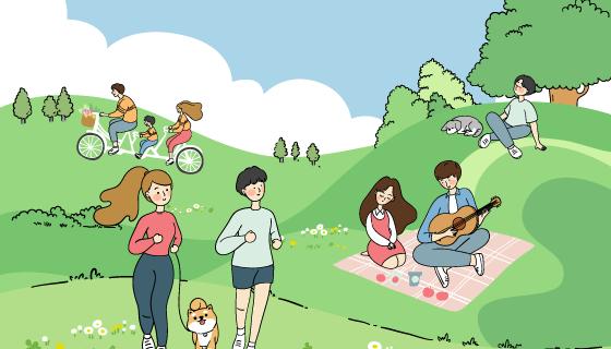 公园里娱乐运动的人们矢量素材(AI/EPS)