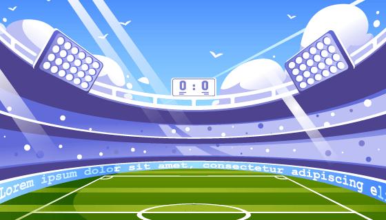 扁平风格的足球场背景矢量素材(AI/EPS)