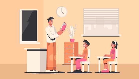 正在上课的老师和学生矢量素材(AI/EPS)
