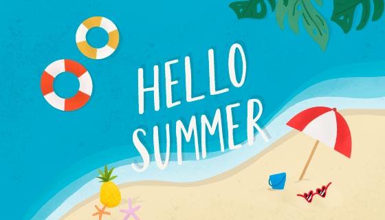 清爽简单的夏日海滩背景矢量素材(EPS)