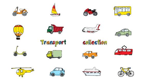 手绘交通运输类图标矢量素材(EPS)