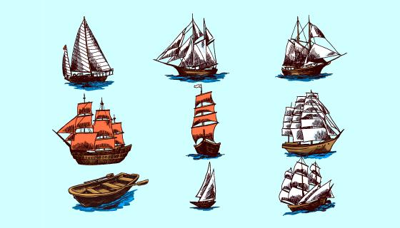 九个手绘风格的船/帆船矢量素材(EPS)