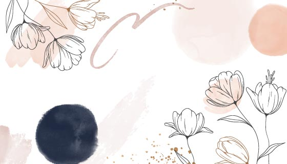 手绘水彩风格花卉背景矢量素材(AI/EPS)