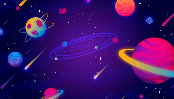 卡通风格的太空银河背景矢量素材(AI/EPS)