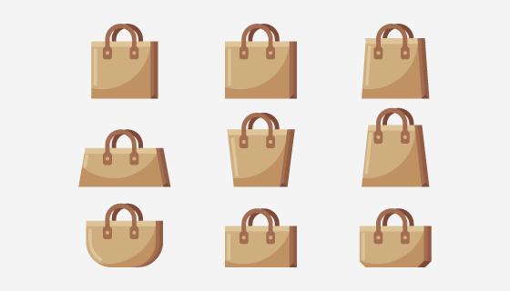 九个手提袋/布袋矢量素材(AI/EPS/PNG)