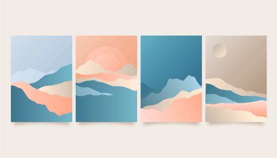 四张渐变抽象风格的山脉封面矢量素材(AI/EPS)