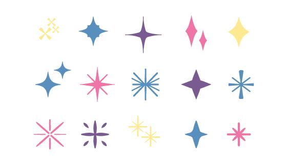 手绘风格闪亮的星星矢量素材(AI/EPS/PNG)