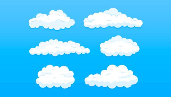 扁平风格的白云矢量素材(AI/EPS/PNG)