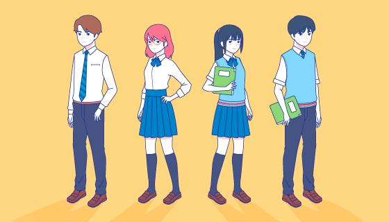 四位手绘风格的中学生矢量素材(AI/EPS/PNG)