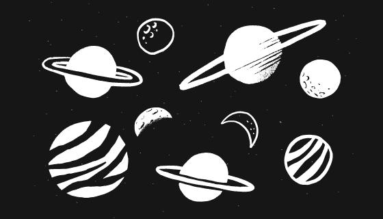黑白涂鸦风格的太阳系矢量素材(EPS)