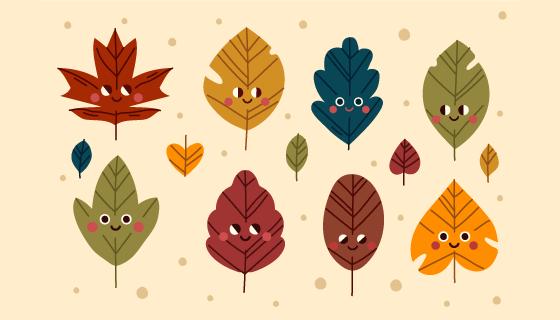 八个可爱的秋叶矢量素材(AI/EPS/PNG)
