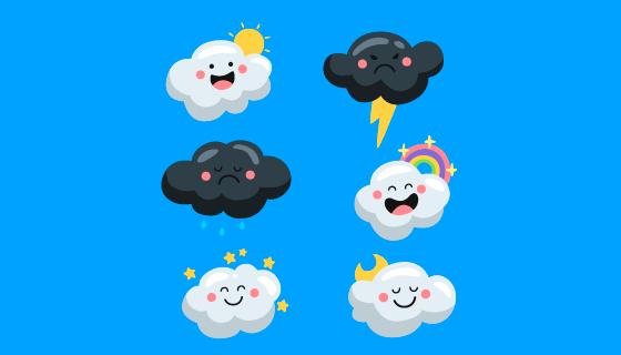 六个卡通风格的白云和乌云矢量素材(AI/EPS/PNG)