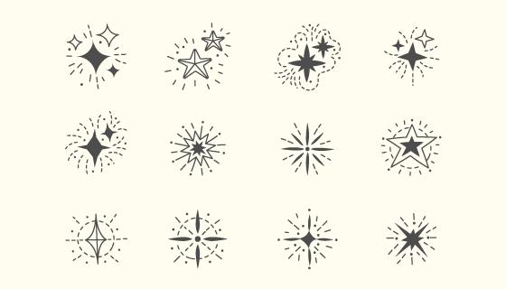 12个手绘风格的星星矢量素材(AI/EPS/PNG)