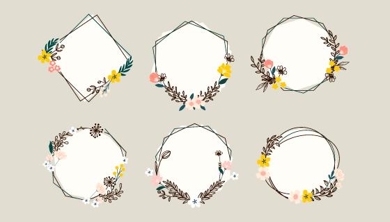 六个漂亮的花环边框矢量素材(AI/EPS/PNG)
