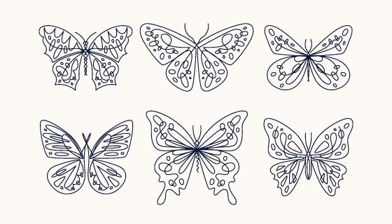 六个手绘风格的蝴蝶矢量素材(AI/EPS/PNG)
