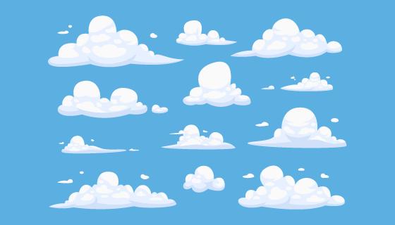 卡通风格的白云矢量素材(AI/EPS/PNG)