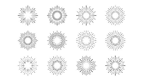 手绘风格的太阳光芒矢量素材(AI/EPS)