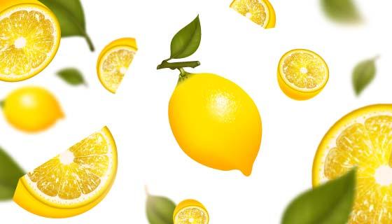 夏日清爽柠檬背景矢量素材(EPS)