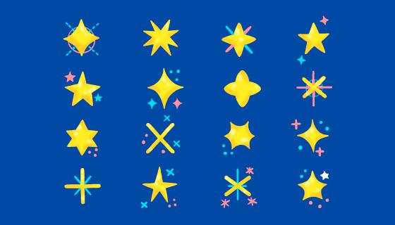 手绘风格的黄色星星矢量素材(AI/EPS/PNG)