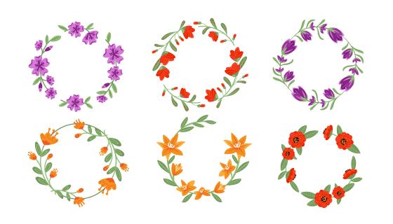 六个不同颜色的漂亮花环矢量素材(AI/EPS/PNG)